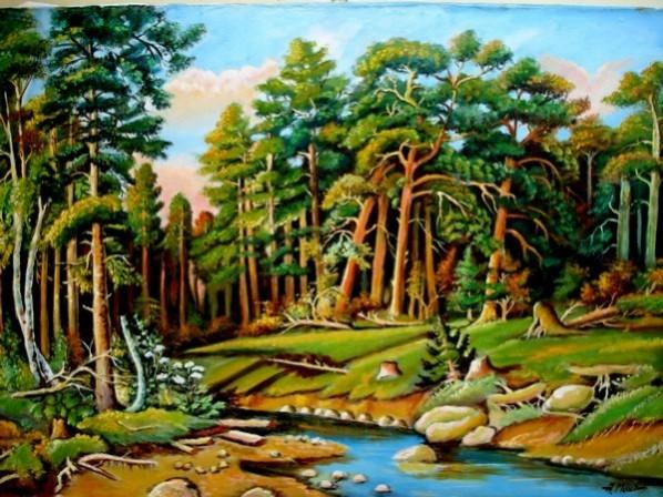 Picturi cu peisaje Tablou padure ruseasca