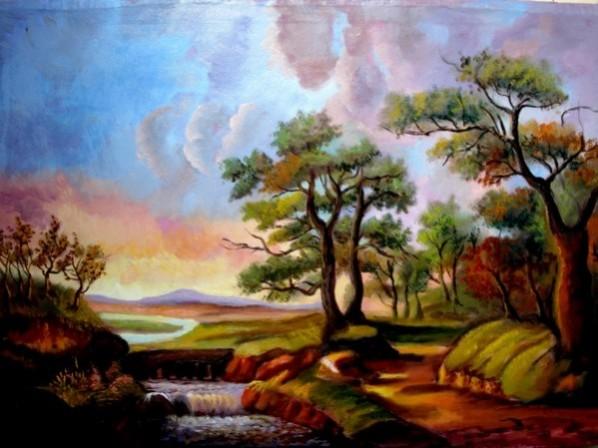 Picturi cu peisaje Tablou pastel de primavara