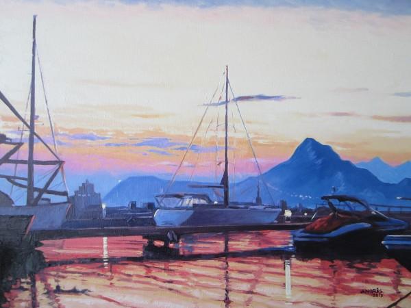Picturi cu peisaje Marina di olbia at sunset
