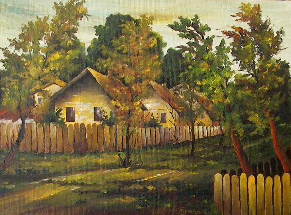 Picturi cu peisaje Case la margine de sat