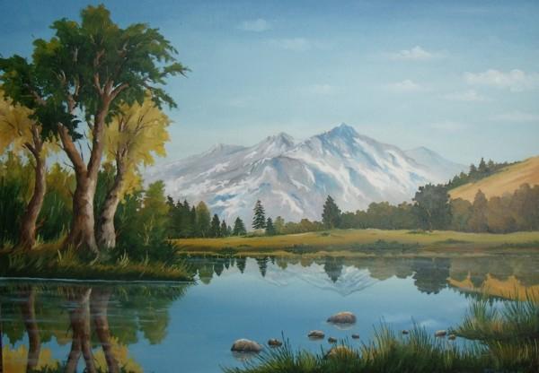 Picturi cu peisaje Dimineata rece la munte