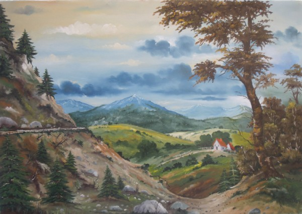 Picturi cu peisaje Drum in munte