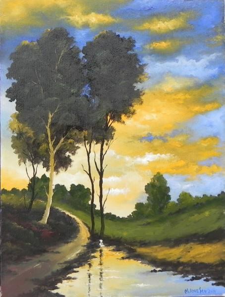 Picturi cu peisaje Dupa ploaie in amurg