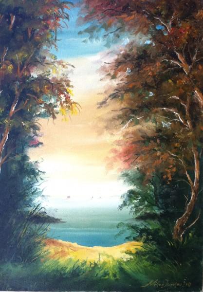 Picturi cu peisaje Iesire la mare din padure