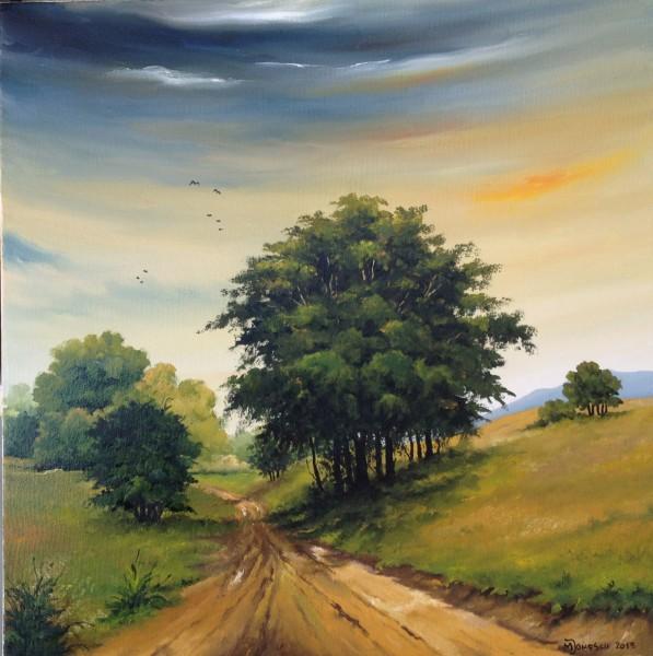 Picturi cu peisaje Palc de copaci la margine de drum