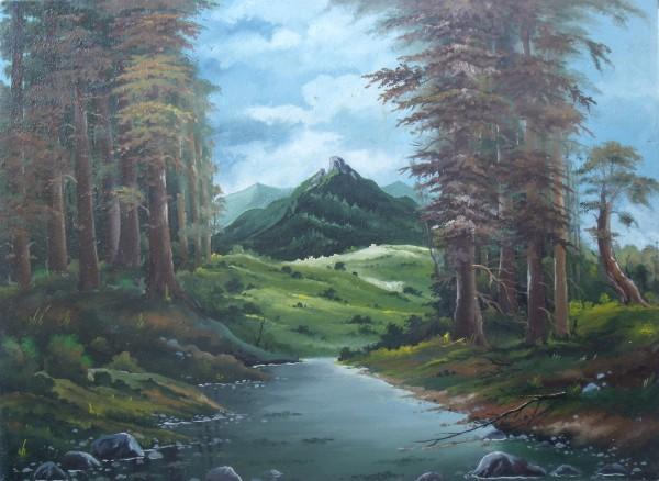 Picturi cu peisaje Pe malul raului