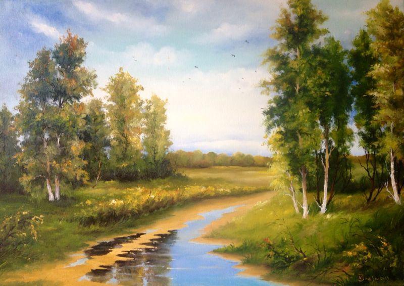 Picturi cu peisaje VARA PRIN PADURE