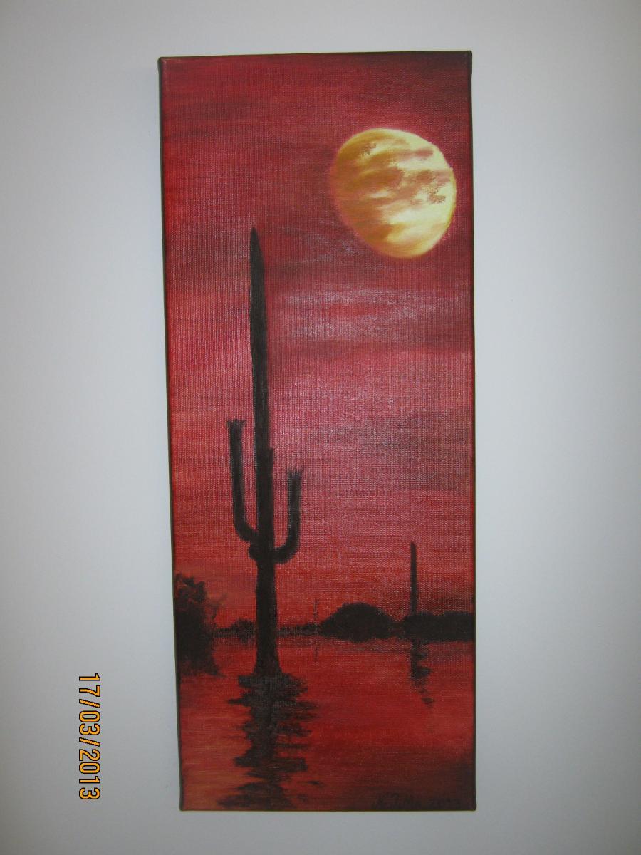 Picturi cu peisaje Luna cu cactusi