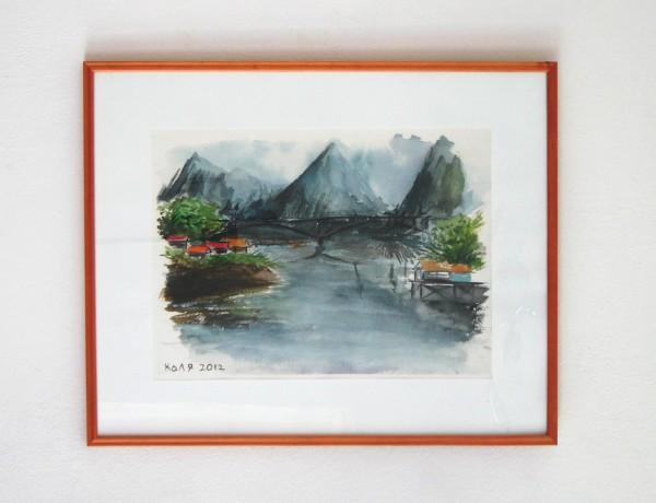 Picturi acuarela Lac de munte