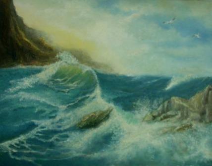 Picturi cu peisaje Val pe stanci