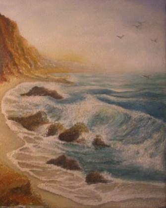 Picturi cu peisaje Valuri si munti