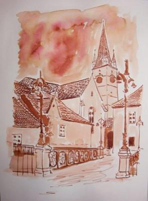 Picturi cu peisaje Podul minciunilor si biserica evanghelica