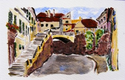 Picturi cu peisaje Podul minciunilor sibiu anul1917