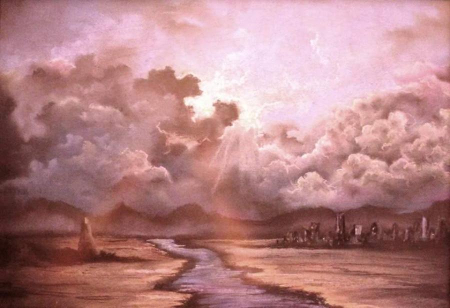 Picturi cu peisaje apus in oras...