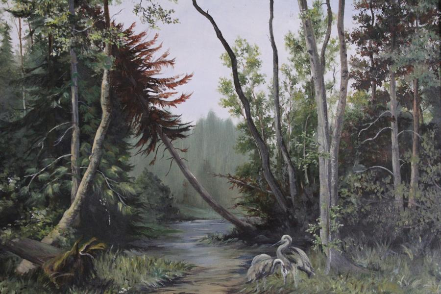 Picturi cu peisaje Starci in padure