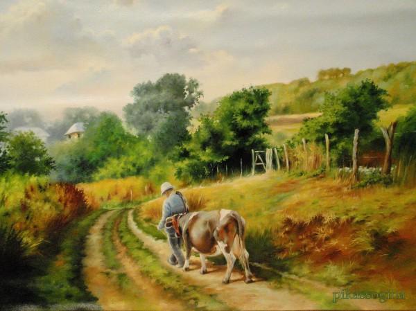 Picturi cu peisaje Pe ulitele satului ii