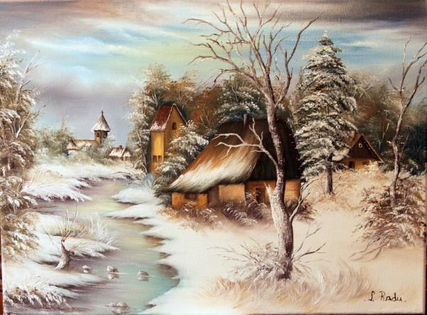 Picturi cu peisaje Iarna in sat