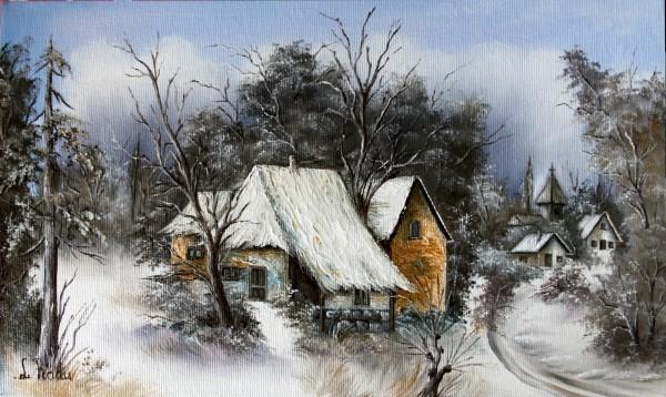 Picturi cu peisaje Iarna in sat 2
