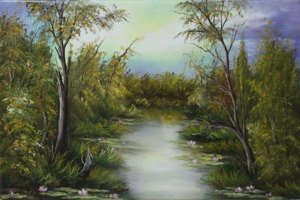 Picturi cu peisaje Nuferi pe lac