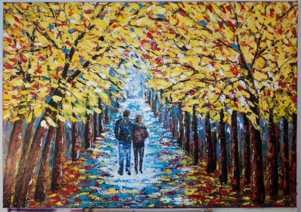 Picturi cu peisaje Plimbare in parc
