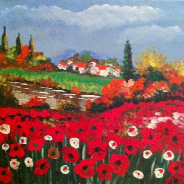 Picturi cu peisaje Campul cu maci