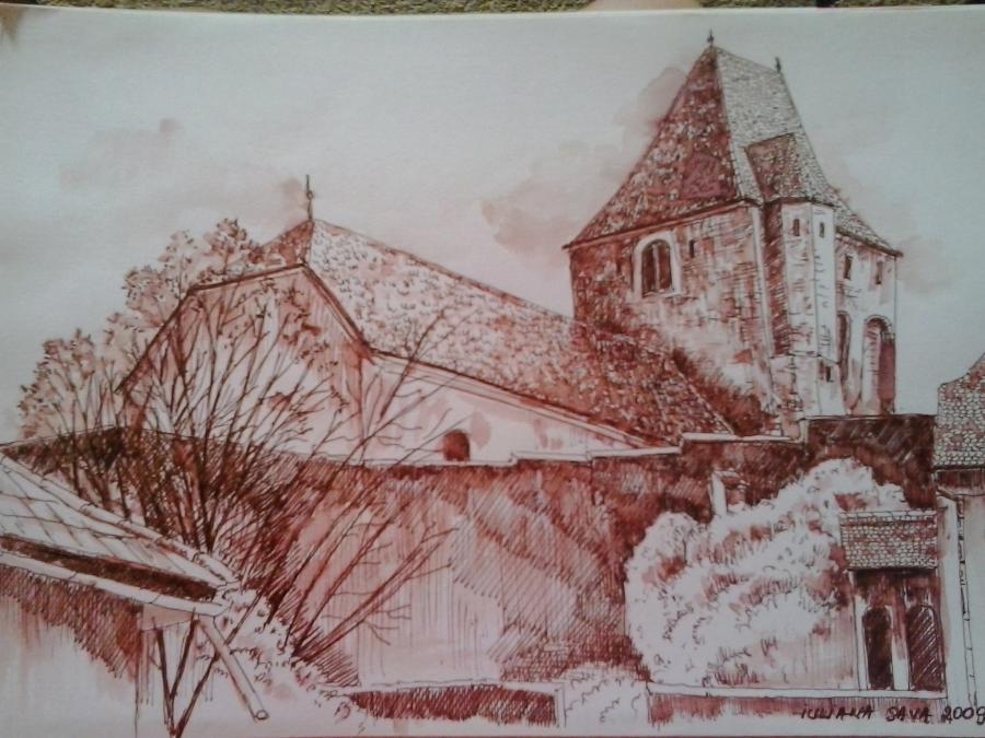 Picturi cu peisaje Biserica fortificata din Buzd