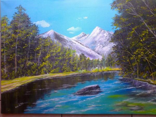 Picturi cu peisaje Albastrul cerului.peisaj de munte