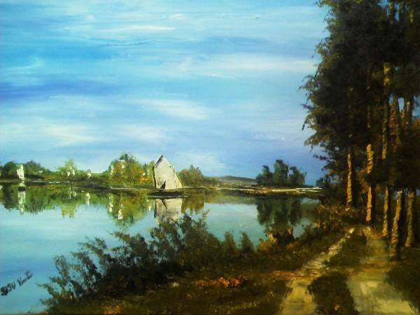 Picturi cu peisaje Barcute pe lac