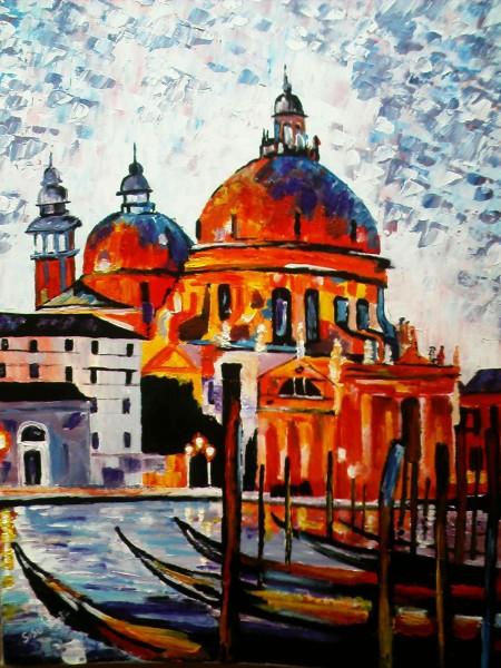 Picturi cu peisaje Gondole la mal