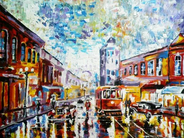 Picturi cu peisaje Pe bulevard