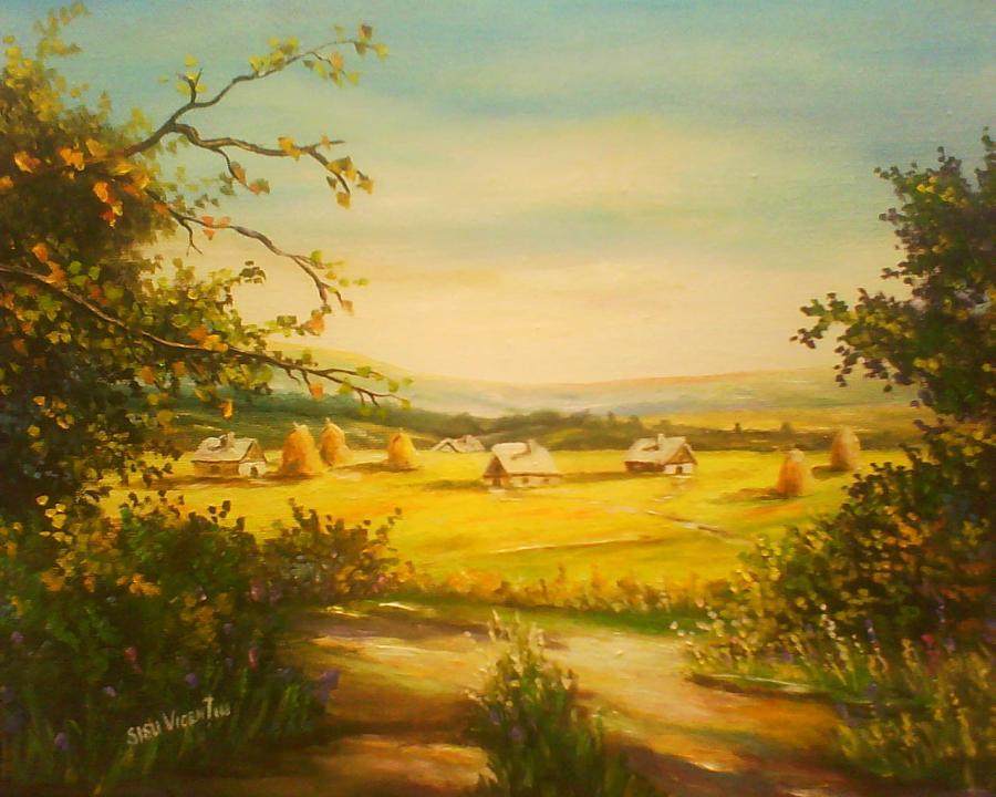 Picturi cu peisaje satul romanesc 2