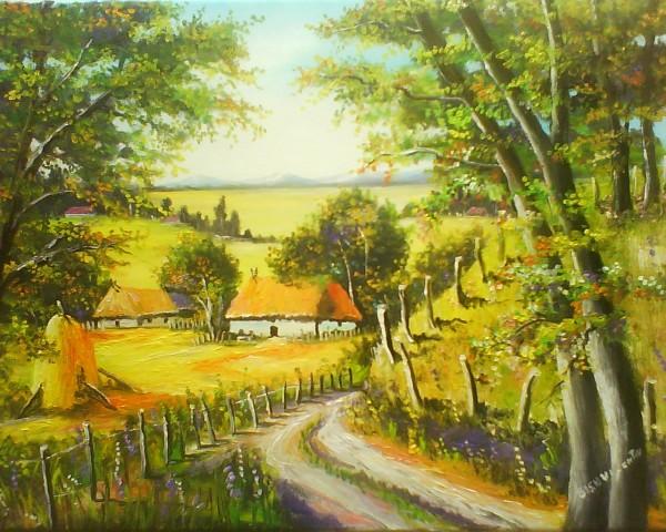Picturi cu peisaje Vara pe deal