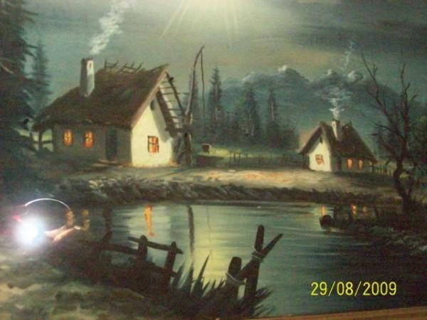 Picturi cu peisaje Noaptea pe lac