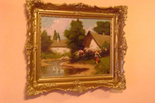 Picturi cu peisaje Tablou scena sat