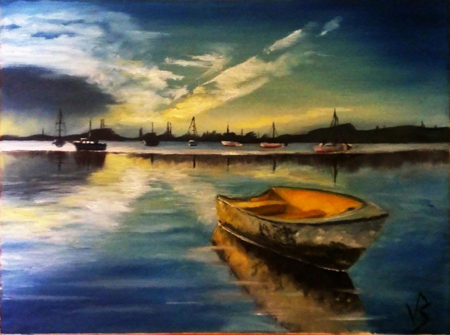 Picturi cu peisaje Barca uitata