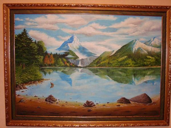 Picturi cu peisaje Lacul de la munte