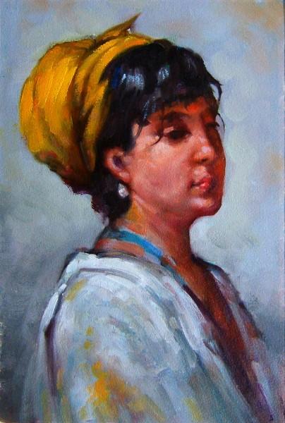 Picturi cu potrete/nuduri Fata cu basma galbena