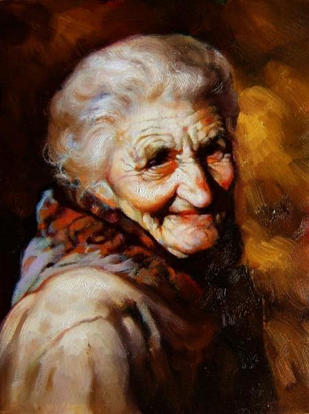 Picturi cu potrete/nuduri Portretul unei bunici