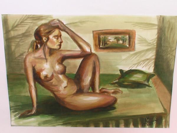 Picturi cu potrete/nuduri Acuarela nud