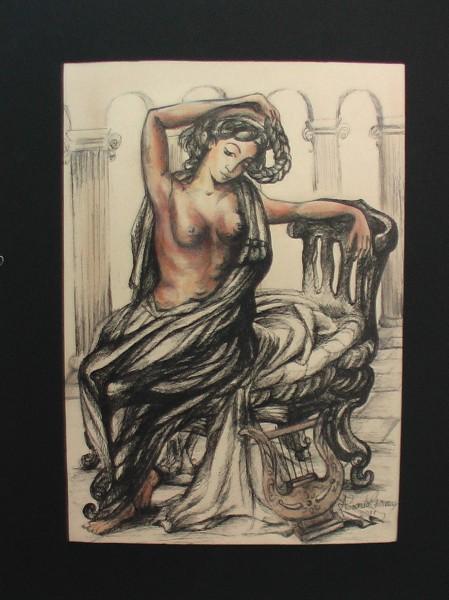 Picturi cu potrete/nuduri Nud cu lira