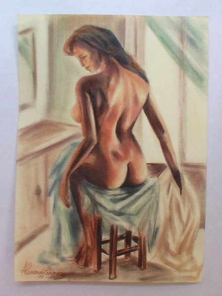 Picturi cu potrete/nuduri Nud pe scaun