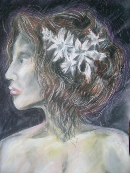 Picturi cu potrete/nuduri Cu flori albe-n par