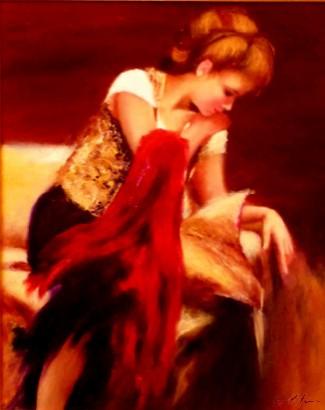 Picturi cu potrete/nuduri Doamna cu esarfa rosie