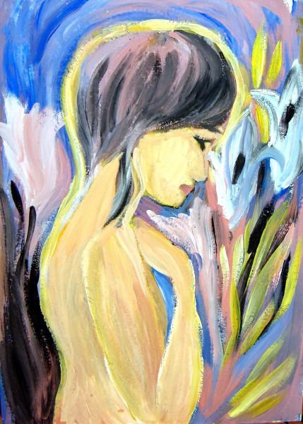 Picturi cu potrete/nuduri Fata cu crini albi