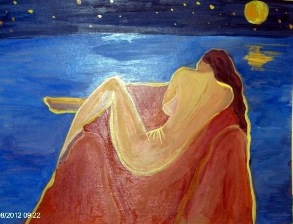 Picturi cu potrete/nuduri Nud pe malul marii, noaptea