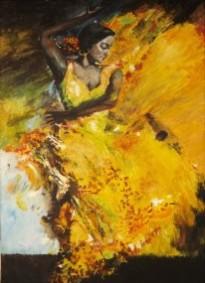 Picturi cu potrete/nuduri Dansatoarea cu rochie galbena