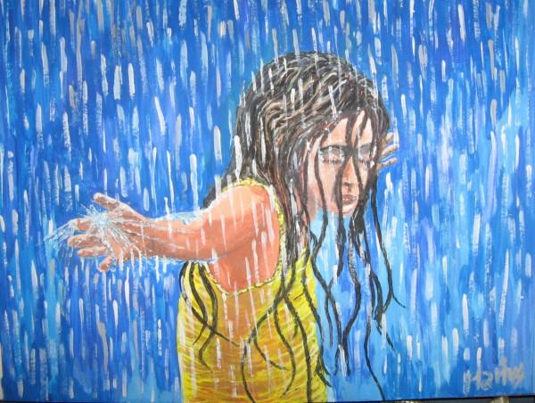 Picturi cu potrete/nuduri Copila in ploaie