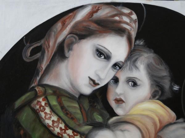 Picturi cu potrete/nuduri Madonna della sedia -detail