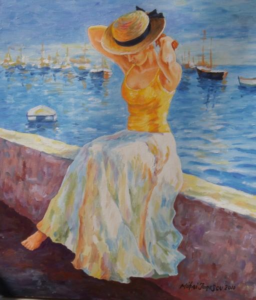Picturi cu potrete/nuduri Fata din port