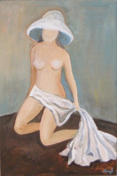 Picturi cu potrete/nuduri Tanara in alb